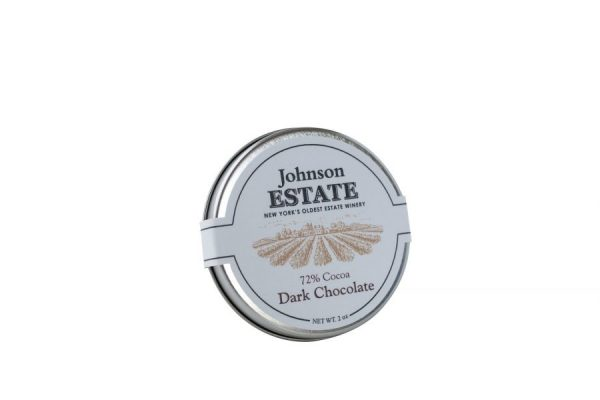Tin of 72% Dark Chocolate Disks on CHQ Shop Where I Live, Wine