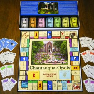 Chautauqua-opoly game board and pieces
